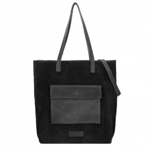 Shabbies Amsterdam Shopper waxed suede matching waxed leather L black Damestas