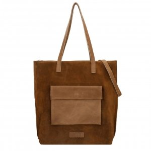 Shabbies Amsterdam Shopper waxed suede matching waxed leather L warm brown Damestas