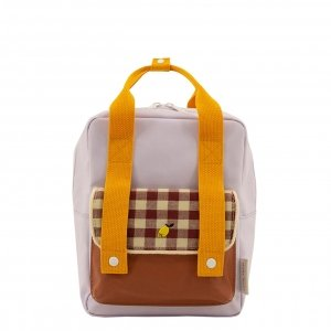 Sticky Lemon Gingham Backpack Small chocolate sundae daisy yellow mauve lilac backpack