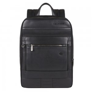Piquadro Obidos Expandable Slim Computer Backpack With Ipad Compartment black