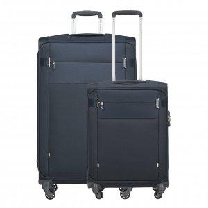 Samsonite Citybeat Spinner 55 + 78 Set navy blue Zachte koffer