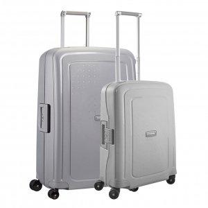 Samsonite S'Cure Spinner 55 + 75 Set silver Harde Koffer
