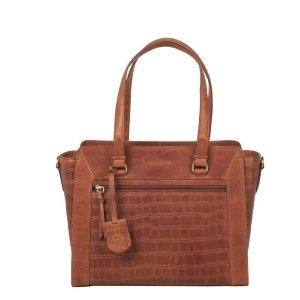 Burkely Croco Cassy Handbag S cognac Leren tas