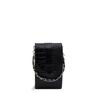 MOSZ Phone Bag Large Plain Croco black/brushed silver Damestas