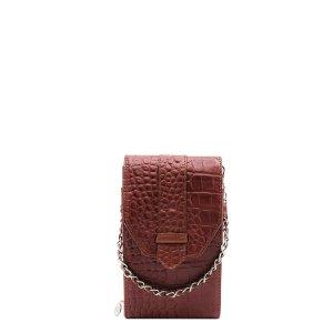 MOSZ Phone Bag Large Plain Croco cognac/brushed silver Damestas